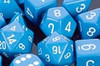 Opaque Polyhedral Dice Set Light Blue-White
