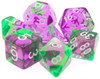 TMG RPG Dice - Faerie Fire Violet/Green Swirl Translucent 16mm (set of 7)