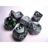 Gemini Black-Grey w/ Green Polyhedral 7-Die Set