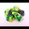 Gemini Green-Yellow w/ Silver Polyhedral 7-Die Set