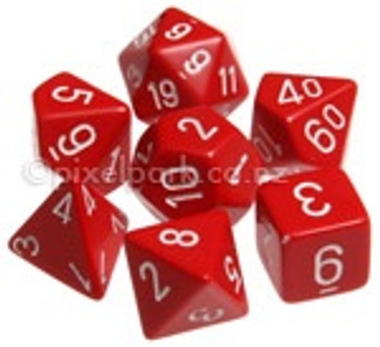 Opaque Polyhedral Dice Set Red-White