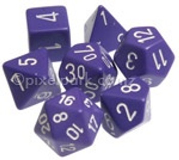Opaque Polyhedral Dice Set Purple-White