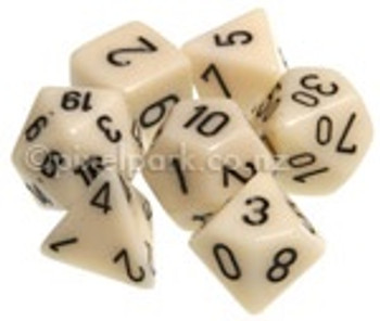 Opaque Polyhedral Dice Set Ivory-Black