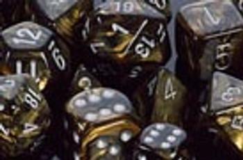 Polyhedral Dice Set Leaf Black Gold-Silver