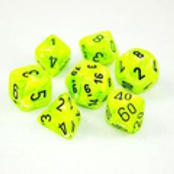 Vortex Bright Green/Black Polyhedral 7-Die Set
