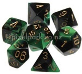 Gemini Polyhedral Dice Set Black Green-Gold