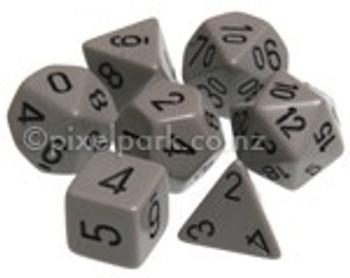 Opaque Polyhedral Dice Set Grey-Black