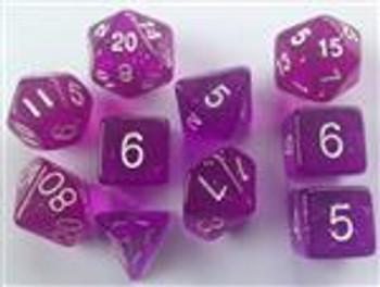Translucent Glitter Purple 10pc Dice Set