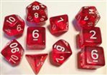 Translucent Red 10pc Dice Set