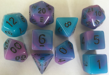 Glow in the Dark Blue & Purple 10pc Dice Set