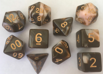 Veined Two Tone Brown Caramel 10pc Dice Set