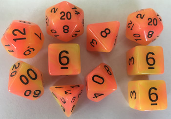 Glow in the Dark Orange & Yellow 10pc Dice Set