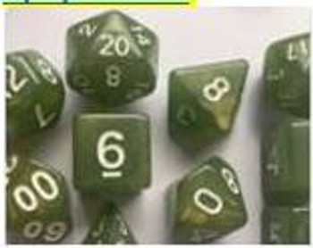 Opaque Glitter Green 10pc Dice Set