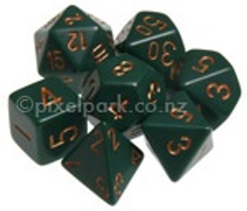 Opaque Polyhedral Dice Set Dusty Green-Copper