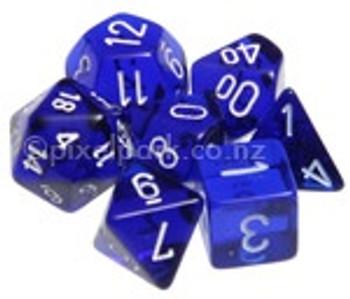 Translucent Polyhedral Dice Set Blue-White