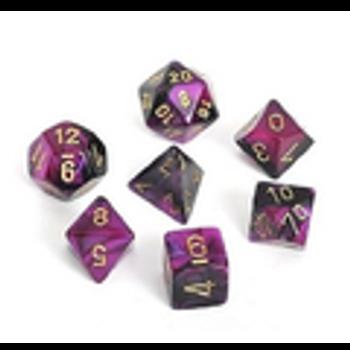 Gemini Black-Purple w/ Gold Polyhedral 7-Die Set
