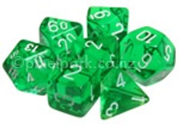 Translucent Polyhedral Dice Set Green-White