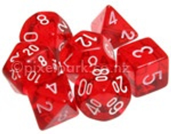 Translucent Polyhedral Dice Set Red-White