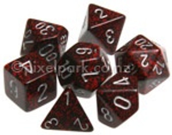 Speckled Polyhedral Dice Set Silver Volcano