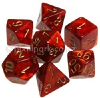 Polyhedral Dice Set Scarab Scarlet-Gold