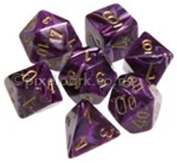 Polyhedral Dice Set Vortex Purple-Gold