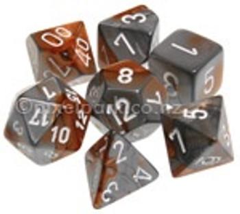 Gemini Polyhedral Dice Set Copper Steel