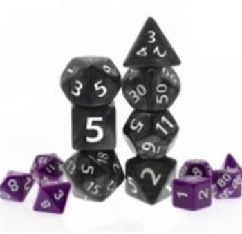 Giant Marbled Black 7pc Dice Set