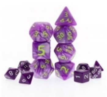 Giant Marbled Purple 7pc Dice Set