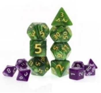 Giant Marbled Green 7pc Dice Set