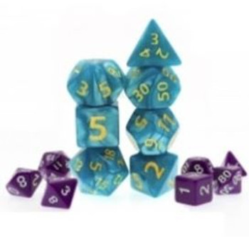 Giant Marbled Teal 7pc Dice Set