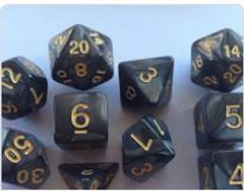 Marbled Black 10pc Dice Set