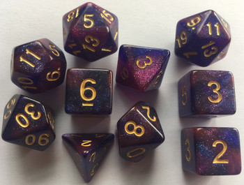 Opague Sparkled Galaxy Purple Blue 10pc Dice Set