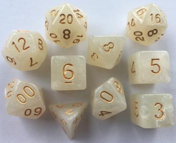 Opague Sparkled Ivory 10pc Dice Set