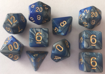 Veined Two Tone  Blue Grey 10pc Dice Set