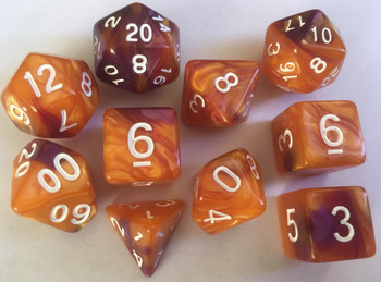 Veined Two Tone Gold Purple 10pc Dice Set