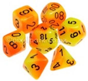 Gemini Polyhedral Dice Set Orange Yellow
