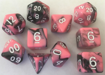 Veined Two Tone Pink Black 10pc Dice Set