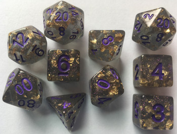 In Suspension 10pc Gold Foil Dark Dice Set