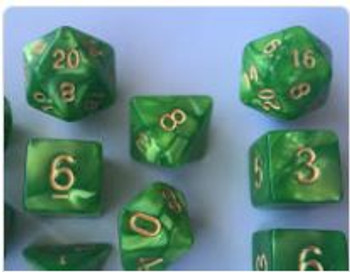 Marbled Green 10pc Dice Set