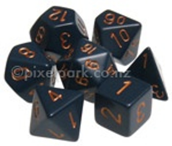 Opaque Polyhedral Dice Set Dusty Blue-Gold