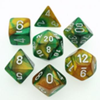 Gemini Gold-Green w/ White Polyhedral 7-Die Set