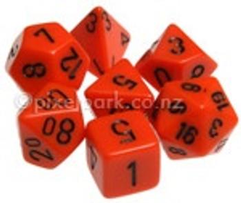 Opaque Polyhedral Dice Set Orange-Black