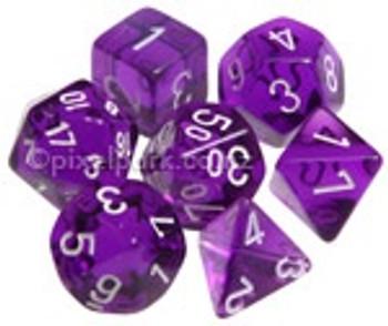 Translucent Polyhedral Dice Set Purple-White