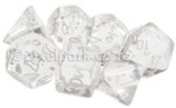 Translucent Polyhedral Dice Set Clear-White