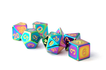 Metal - Torched Rainbow with Gold Numbers 16mm