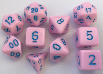 Classic Opaque 10pc Pastel Pink/Blue Dice Set