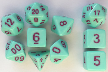 Classic Opaque 10pc Mint Green/Marron Dice Set