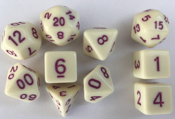 Classic Opaque 10pc Eggshell/Marron Dice Set