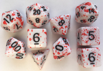 Coated Graffiti Red 10pc Dice Set