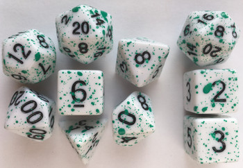 Coated Graffiti Green 10pc Dice Set